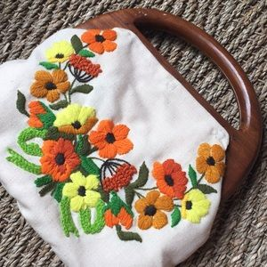 Handbags - Floral Embroidered Cloth Wood Clutch